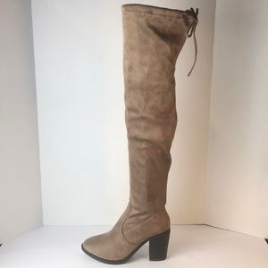 Sexy Pull Up Almond Toe Over The Knee Heel Boots